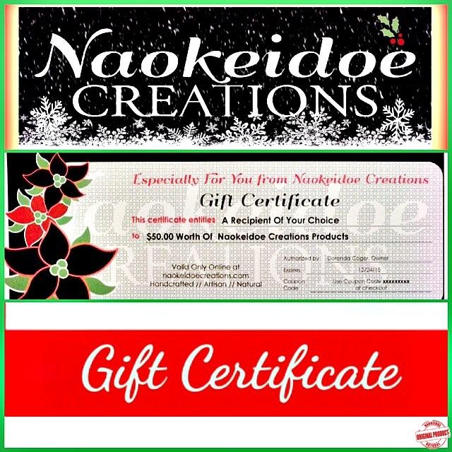 Naokeidoe Creations Gift Certificate Gift Card Handmade Natural Soap