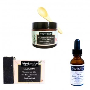 Charcoal and Clay Facial Soap, Clarity Facial Grains and Clarity Facial Oil Serum - Group Savings!