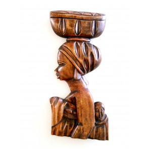 "Ghanaian Wood Sculpture  - ""Nyoka - Beautiful Girl"""