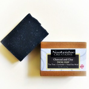 Charcoal and Clay Facial Handmade Soap with Tea Tree, Lavender and Dead Sea Mud